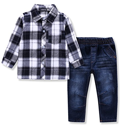 Ferenyi US Kids Clothing Boys Casual Short Sleeved Plaid Shirt and Denim Jeans Sets (2-3 years, White)