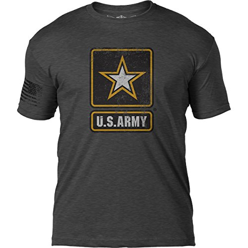 7.62 Design US Army 'Distressed Logo' Patriotic Men's T Shirt,Heather Dark Charcoal,Medium