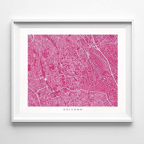 Amazon Com Saitama Japan Street Road Map Poster Home Decor Print