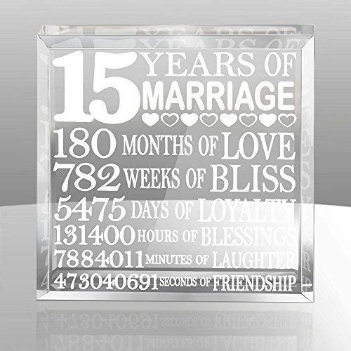 Beveled Edge Crystal Award - Kate Posh - Fifteen (15) years of Marriage - Our 15th Anniversary Keepsake & Paperweight