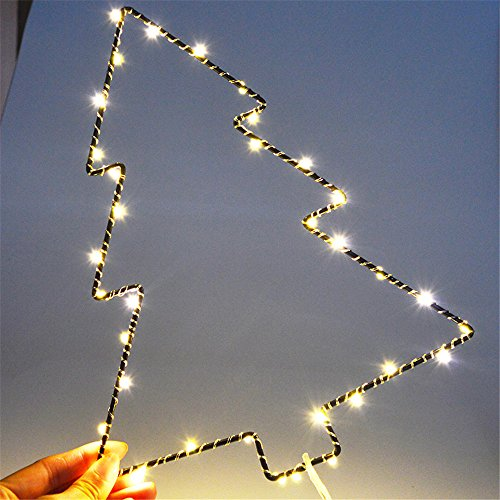 Battery Window Picture Christmas Tree shaped Ambiance lighting LED Curtain Lights,Great Decoration for Outdoor,Patio,Lawn,Landscape,Fairy Garden,Home,Wedding,Holiday,Christmas Party,Xmas Tree