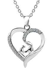 MUZHE Hollow Heart Mom Baby Crystal Rhinestone Pendant Necklace for Mother's Day Gift