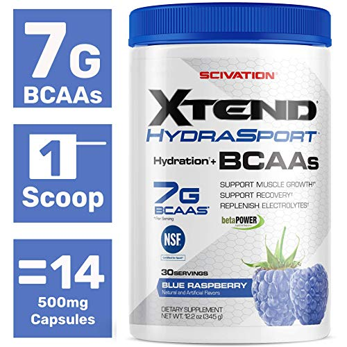 Scivation Xtend Hydrasport Bcaa Powder, Blue Raspberry, 30 Servings, Keto Friendly, Branched Chain Amino Acids, Bcaas, Zero Sugar Electrolyte Drink Powder + Hydration (Fast Recovery Bcaa)