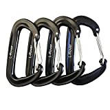 12 kN Aluminum Wire Gate Carabiners 2 Or 4 Pack- Heavy Duty, 2,645-pound Rating for Hammocks, Rv,Fishing,Locking Dog Leash and Harness, Camping, Photography, Key Chains,Hiking & Utility