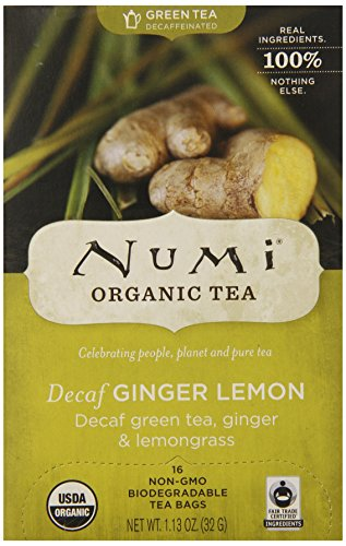 Numi Organic Tea--Decaf Ginger Lemon Decaffeinated Green Tea--16 Count non-GMO Tea Bags--Caffeine Free Natural Tea Blend