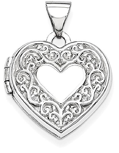 ICE CARATS 14k White Gold Heart Photo Pendant Charm Locket Chain Necklace That Holds Pictures by ICE CARATS