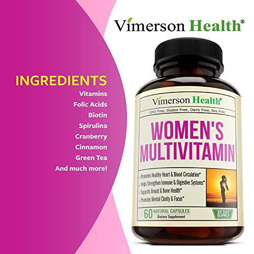 Women's Daily Multivitamin/Multimineral Supplement - Enhanced Vitamins & Minerals. Chromium, Magnesium, Biotin, Zinc, Calcium, Green Tea. Antioxidant Properties for Women. Heart & Breast Health. by Vimerson Health (Image #4)