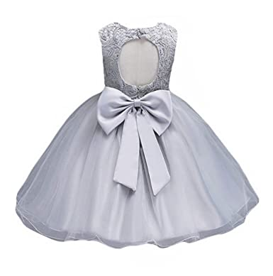 165c581fe Amazon.com: 21KIDS Baby Girls Tulle Lace Flower Bridesmaid Gown Backless  Dress with Bow for Party Wedding: Clothing