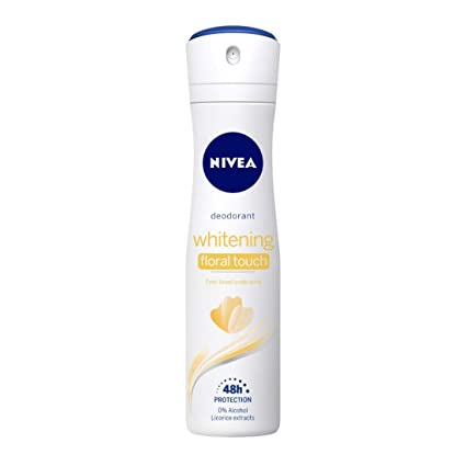 NIVEA Whitening Floral Touch Deodorant, 150ml, for Even toned underarms 48h Gentle Care with Vitamin C & 0% Alcohol