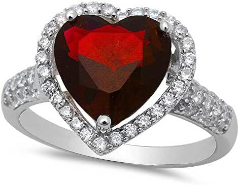 Simulated Garnet & Cz Heart Shaped .925 Sterling Silver Ring Sizes 5-10