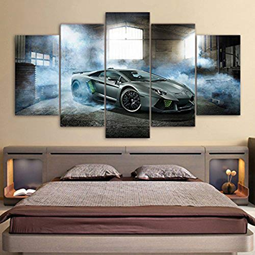 NATVVA Modern Pictures Modular Canvas Poster HD Printed Wall Art 5 Pieces Home Decor Smoke Gray Luxury Sports Car Painting Frame