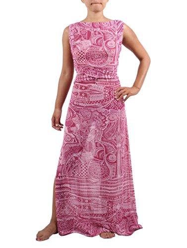 Lola Moda Womens LONG DRESS SOFT PINK TRANSPARENT REINA & ROSES MAYA