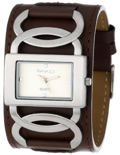 Nemesis Women's NS104B Brown Collection Cross Arc Leather Band Watch