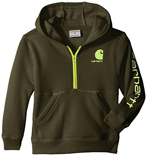 - Carhartt Little Boys' Logo Fleece Half Zip Sweatshirt, Olive, 4T