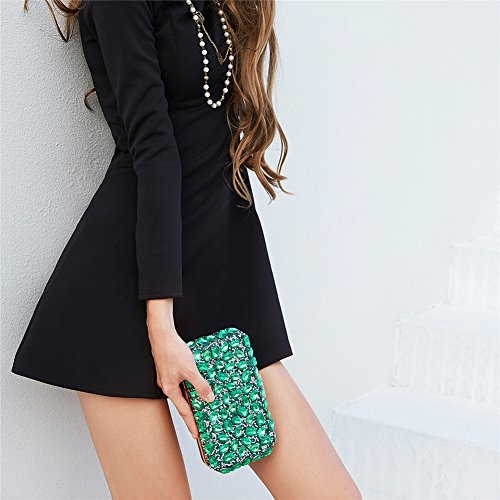Evening Party Shoulder Rhinestone Black Bags Wedding Clutch Dress Women Handbag Orfila Chain wCqtIq