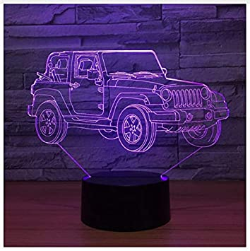 Amazon Com New 3d Lamp Jeep 7 Color Led Night Lamps For Kids Touch