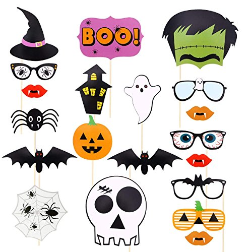 (Polymer 22pcs Holloween Prop Photo Booth Props DIY Kit for Party Supplies Featuring Boo Pumpkin Ghost Halloween Decorations Birthday Party Photo Booth)