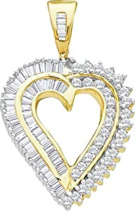 Diamond Pendant 10kt Yellow Gold Heart Love 7/8 Cttw(I2/i3, i/j)