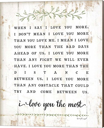(I Love You More by Jennifer Pugh Canvas Art Wall Picture, Museum Wrapped with Nutmeg Sides, 16 x 20 inches)