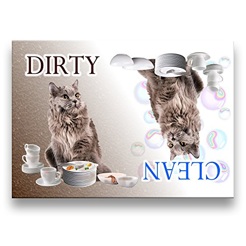 clean dirty dishwasher magnet cat - 7
