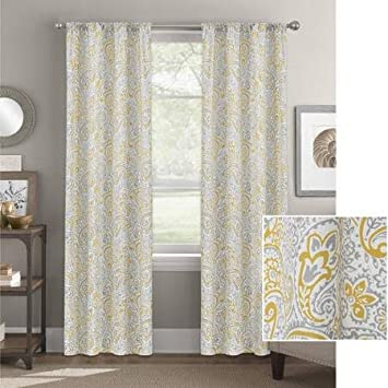 Better Homes And Gardens Scalloped Paisley Curtain Panel 52 X 63 In GOLD GRAY