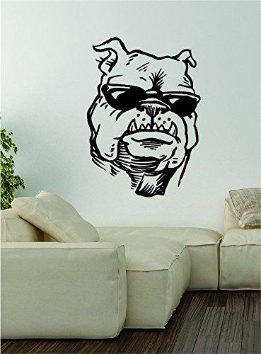 Bulldog Sunglasses Wall Decal Sticker Vinyl Art Home Decor Decoration Dog Puppy Animal Rescue Funny - Sunglasses Tumblr Hipster