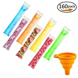 Image of 160 Pieces Ice Popsicle Molds Bags,Zip-Top Disposable DIY Ice Pop Mold Bags for Gogurt, Ice Candy, Otter Pops or Freeze Pops-Comes With A Orange Color Funnel