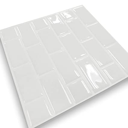 Tile Sticker Wall Tile Stickers Peel And Stick Self Adhesive Wall Tile In Brick Style For Kitchen Bathroom Backsplash White 22cm X 22cm Pack Of 10