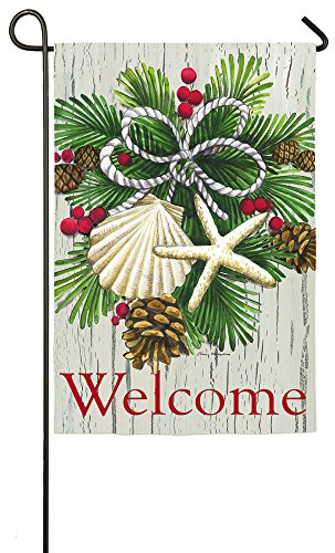 Evergreen Suede Coastal Christmas Garden Flag, 12.5 x 18 inc