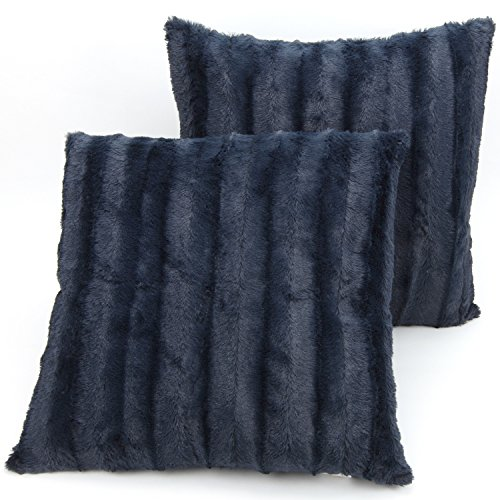 Cheer Collection Faux Fur Throw Pillows - Set of 2 Decorative Couch Pillows - 20