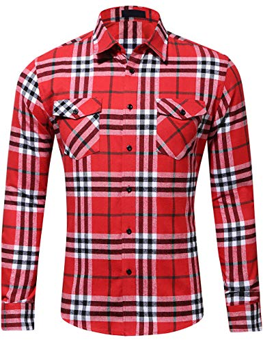 (DOKKIA Men's Dress Buffalo Plaid Checkered Fitted Long Sleeve Flannel Shirts (Red White Buffalo, Medium))