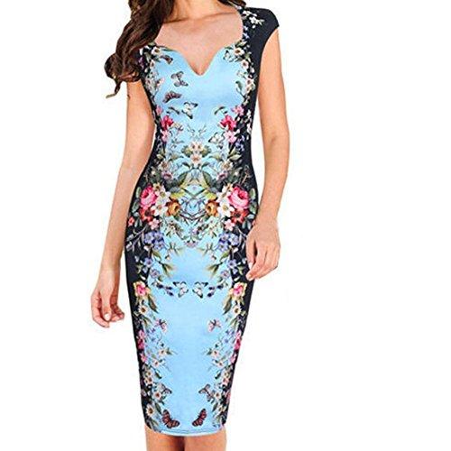 Misaky Lady Dress, Bandage Bodycon Evening Party Cocktail Short Mini Dress (S, S_Blue)