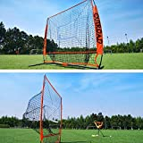 Outroad Baseball Net 5x5 / 7x7 Batting and Pitching Practice Net w/Bow Frame and Strike Zone Target, Portable and Removable Ball Holder Batting Practice w/Carry Bag