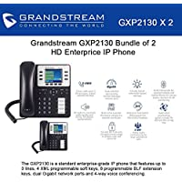 Grandstream GXP2130 Bundle of 2 HD Enterprise IP phone 3 lines Color LCD PoE