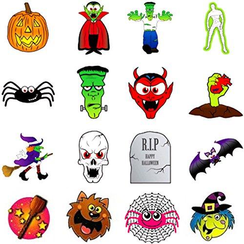 German Trendseller® - 72 x tatouage éphérmè pour des enfants┃ halloween┃diable, sorcière, Frankenstein, crâne, vampire, momie, pierre tombale, chauve-souris, areignée,