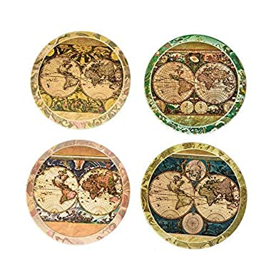 CoasterStone AS285 Absorbent Stone Coasters, Old World Maps , Multicolored