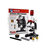 Jiusion Kid Microscope Science Kits, 100X 400X 1200X Trinocular Magnification Beginner Science Toy Home School Educational Science Biological Hand Held Camera Microscope with Slides for Kids Childen