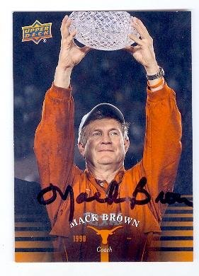 Mack Brown autographed Football card (University of Texas Longhorns Coach) 2011 Upper Deck - Brown Autographed Football
