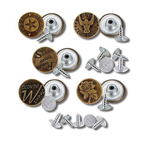 20mm 5Style 10Sets/ Bronze Fashion Metal Jeans Button Shank Button for Garment Pants Sewing Clothes Accseeories Handmade by SooShow, Contains 5 Pcs Spare Nails