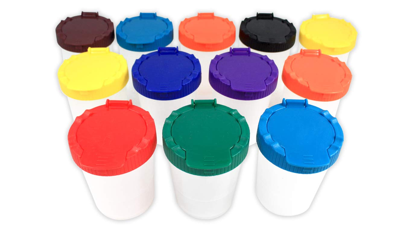 Sargent Art 22-1612 12 No-Spill Paint Cups, Assorted Pack by Sargent Art