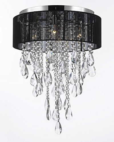 Flushmount 4-light Chrome and Black Shade EMPRESS Crystal (TM) Chandelier Chandeliers Lighting