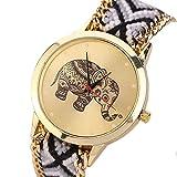 Women Watch,SMTSMT Elephant Pattern Weaved Rope Band Bracelet Quartz Dial Watch (Black)
