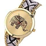 Women Watch,SMTSMT Elephant Pattern Weaved Rope Band Bracelet Quartz Dial Watch