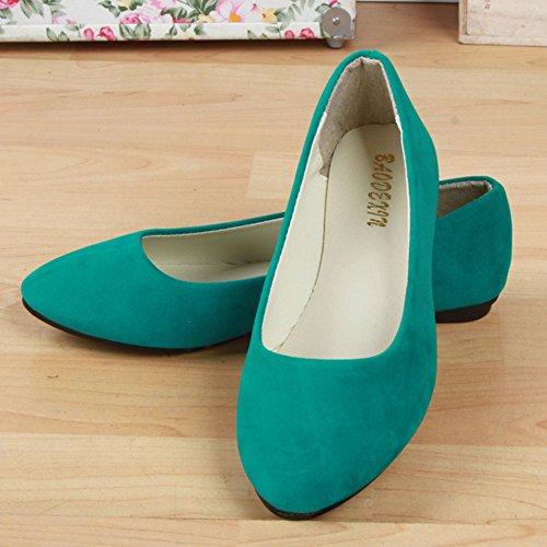 Sintética Básicas Zapatos Moda Piel Pasto y Verde Planos Ocio Bailarinas de Mujer x4ZISI