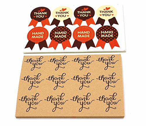 520 Pack Stickers – 1.5 Inch Kraft Paper Thank you Stickers Label  Love Heart Shape Thank you stickers Round Gift Shape Thank you Handmade stickers -…