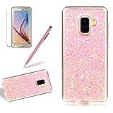 Glitter Case for Samsung Galaxy A8 2018,Girlyard Crystal Luxury Bling Shinning Design Soft TPU Ultra-thin Flexible Rubber Anti-slip Scratch Resistant Protective Phone Case for Samsung Galaxy A8 2018 -Pink