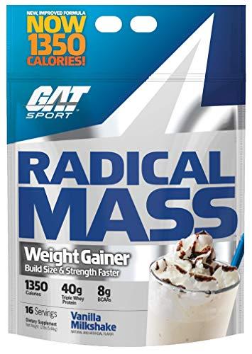 GAT Sport Radical Mass Weight Gainer Muscle Builder for Building Size & Strength - Vanilla Milkshake (12 Pound)