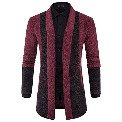 YANG-YI 2017 Mens Slim Fit Hooded knit Sweater Fashion Cardigan Long Trench Knitted Coat Jacket (M, wine Red) Cardigan Logo Sweater