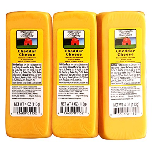 100% Wisconsin CHEDDAR CHEESE Packages - (6) 4 oz - Great with Crackers - WISCONSIN CHEESE COMPANY