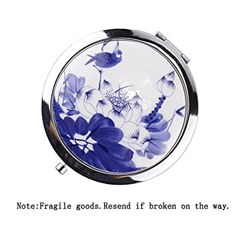 EYX Formula Round Chinese Ceramics Flower Makeup Mirror Foldable Compact Mirror Pocket Mirror ,Double-sided 2x Magnifying Cosmetic Mirror Travel Mirror for - Neiman Marcus Suits
